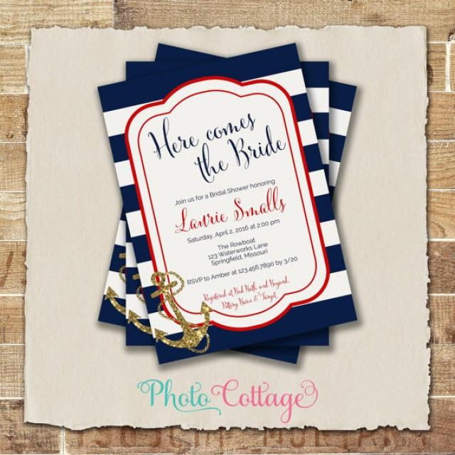 Bridal Shower Invitation Navy White Red Anchor Invitations Invites Nautical Bs202 2266675