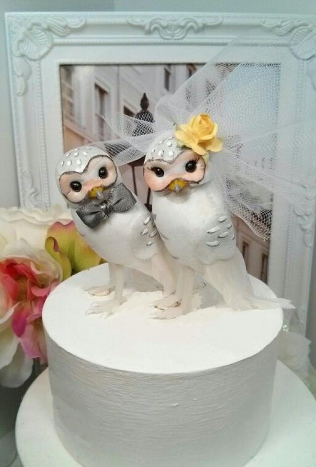 owl wedding cake toppers for sale grey and yellow wedding owls chic snow owls 18102