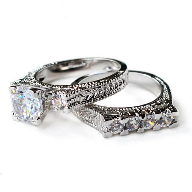 Cz Ring Wedding Engagement Set Vintage Style Art Deco Bridal Size 5 6 7 8 9 10 Mc10191t 2272243