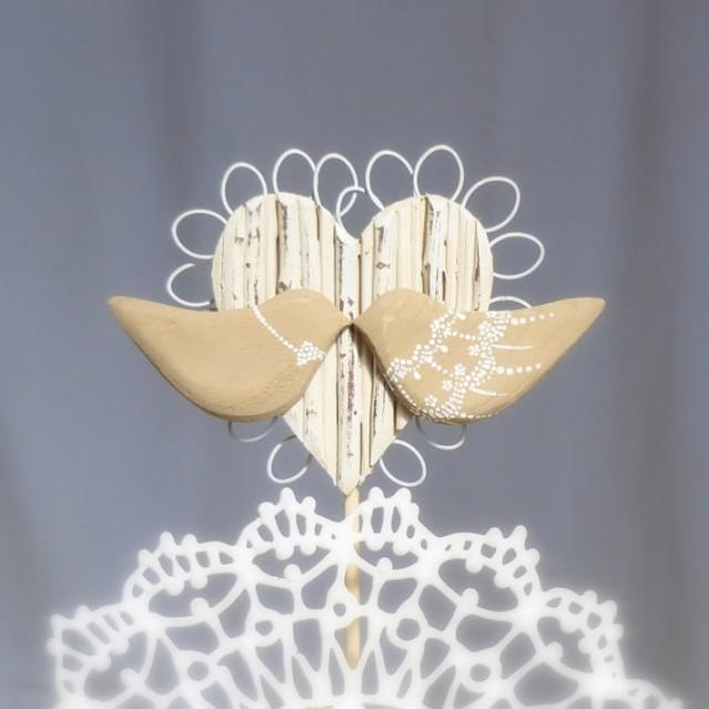 two hearts one love wedding decorations rustic wedding topper wood birds wedding cake topper 8138