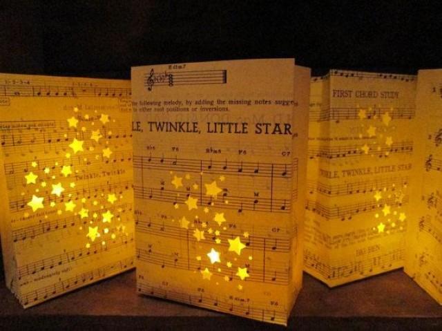 Le Little Star Luminary Bags Vintage Sheet Music Handmade Party Theme Wedding
