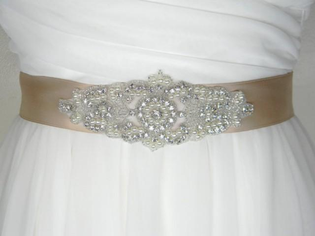 Plus Size Wedding Belt Long Bridal Sash Satin Rhinestone And Pearl Dress Choose Your Lique 2289756