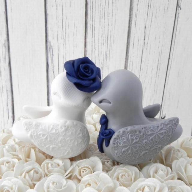 blue love birds wedding cake topper birds wedding cake topper white grey and navy blue 11994