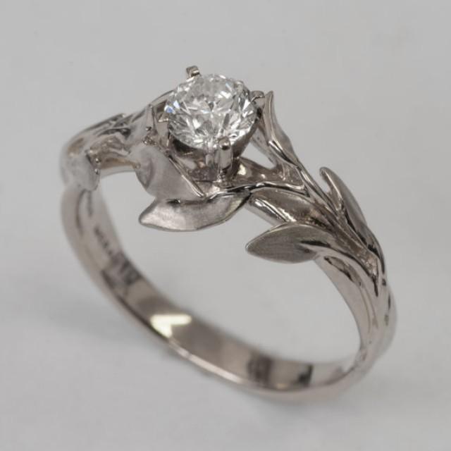 Leaves Engagement Ring No 4 14k White Gold And Diamond Leaf Filigree Antique Art Nouveau Vintage 2296656