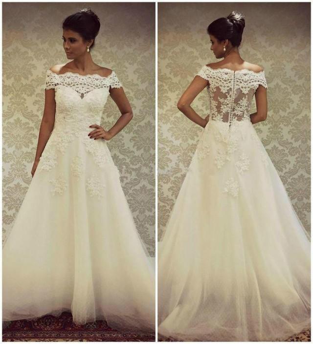 Real Image 2017 Wedding With Bateau Neck Lace Short