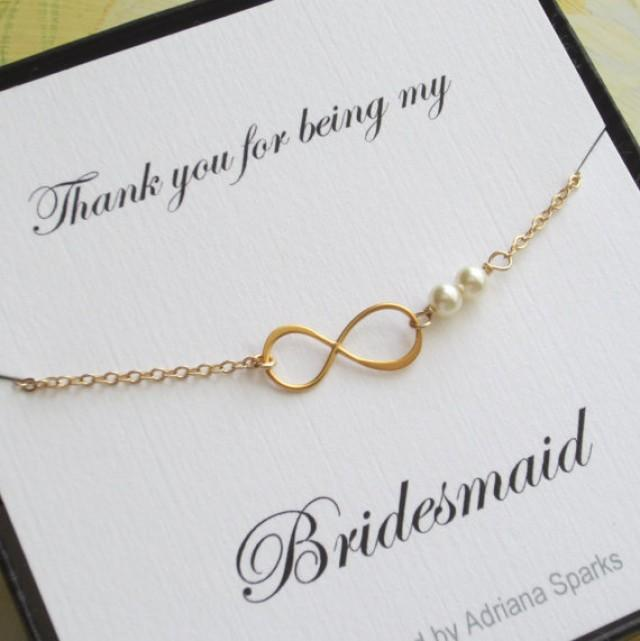 Infinity Gold Bracelet Bridesmaid Gift Thank You Card Bridal Party Jewelry With Pearl Maid Of Honor 2299179