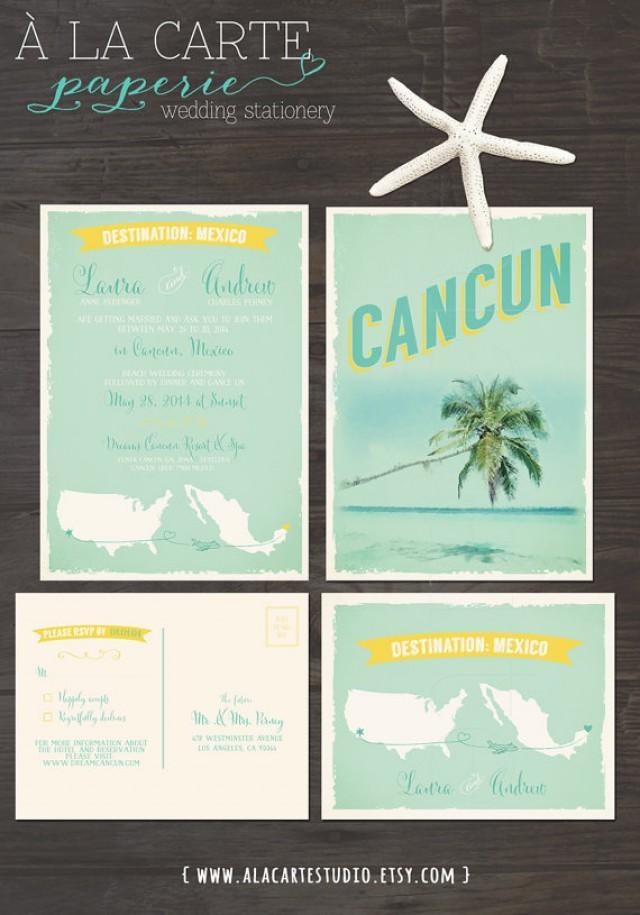 Cancun Mexico Beach Destination Wedding Invitation And Rsvp Cards Design Fee 2304113 Weddbook