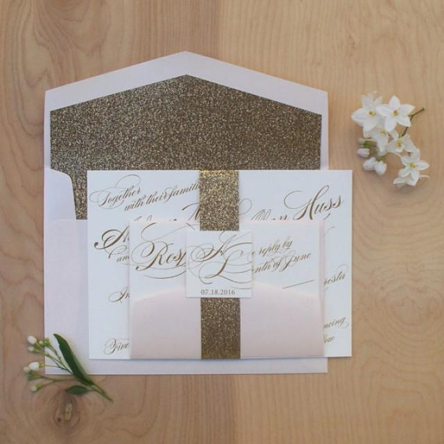 gold glitter wedding invitations glitter wedding invitation gold and blush belly band 4534