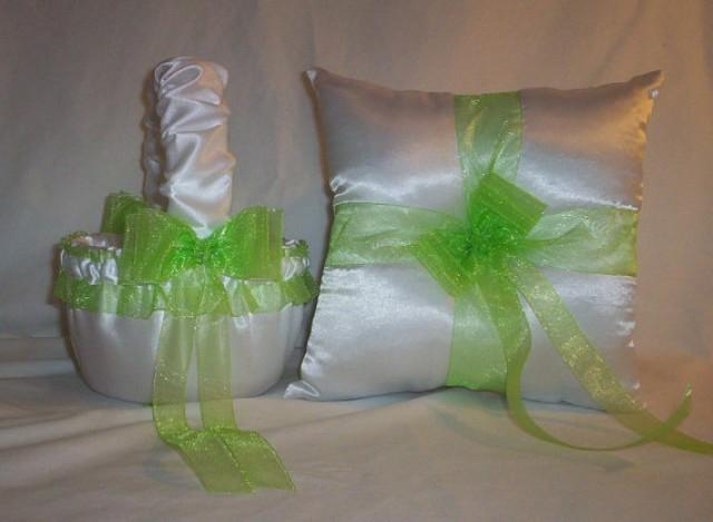 White Satin With Lime Green Ribbon Trim Flower Basket And Ring Bearer Pillow 2317303 Weddbook