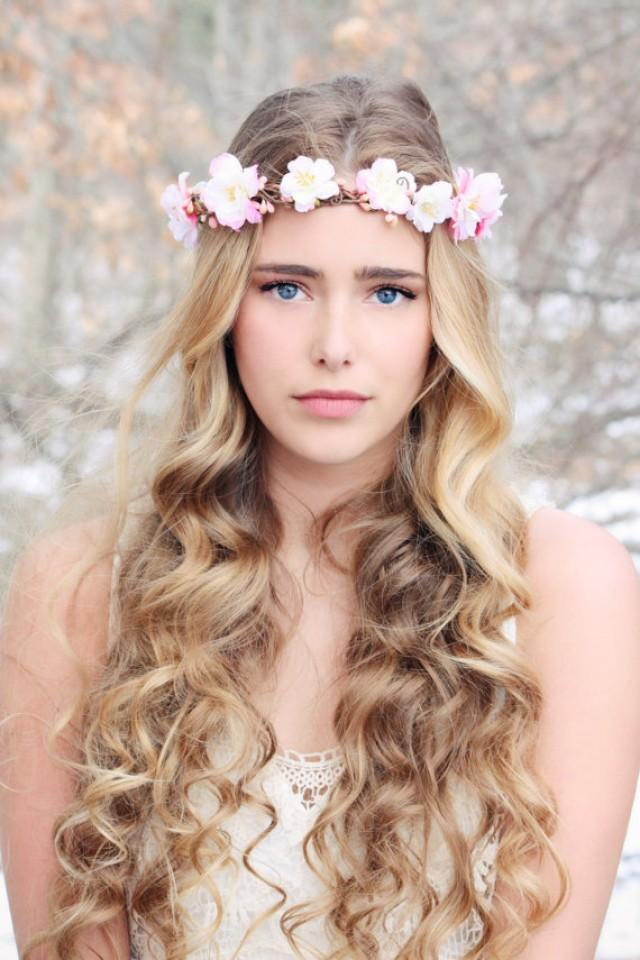 flower crown wedding hair pink cherry blossom hair cherry blossom hair crown 4156