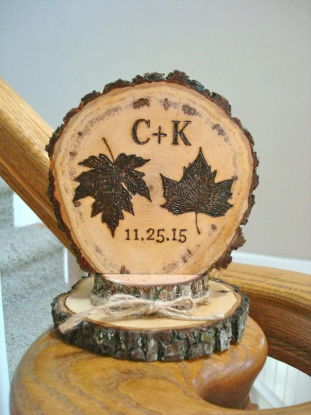 rustic fall wedding cake topper fall leaves wedding cake topper autumn rustic personalized 19501