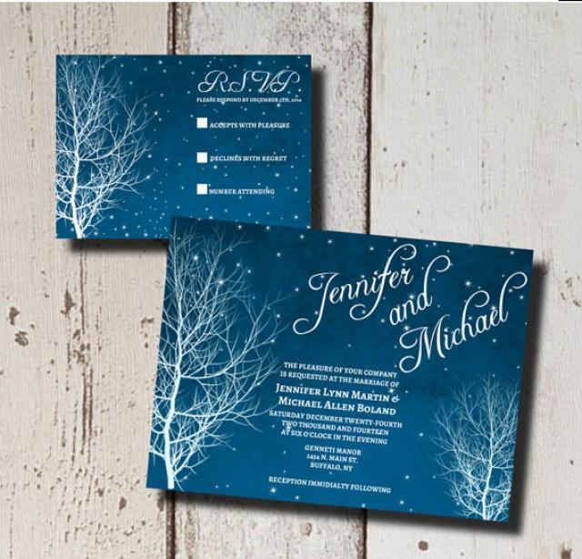 Winter Wedding Invitation Suite Printable Starry Nite Branch Diy Custom Blue White Stars 2337628 Weddbook