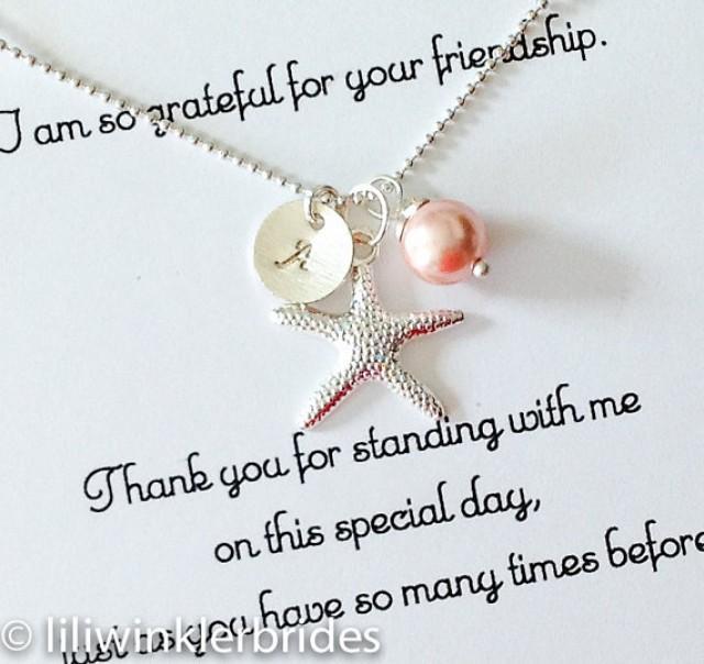 Bridesmaid Gift Necklace Starfish Pearl Initial Cer Birthstone Silver Personalized Jewelry Nautical Wedding Beach 2339059 Weddbook