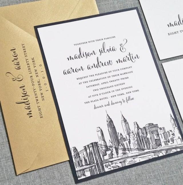 Madison New York Skyline Wedding Invitation Sample Boston Chicago Dallas Los Angeles San Francisco 2339967 Weddbook