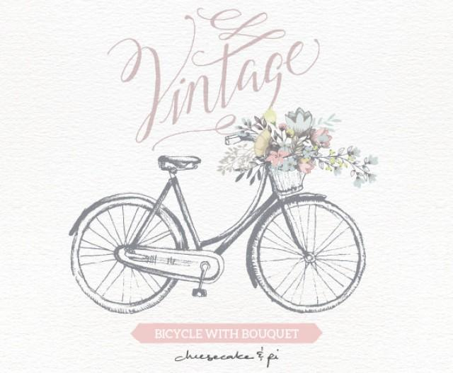 Vintage Bicycle With Floral Bouquet Clipart / Wedding ...