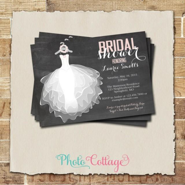 Bridal Shower Invitation Chalkboard Wedding Dress Invitations Invites Pink Bs116 2340881 Weddbook