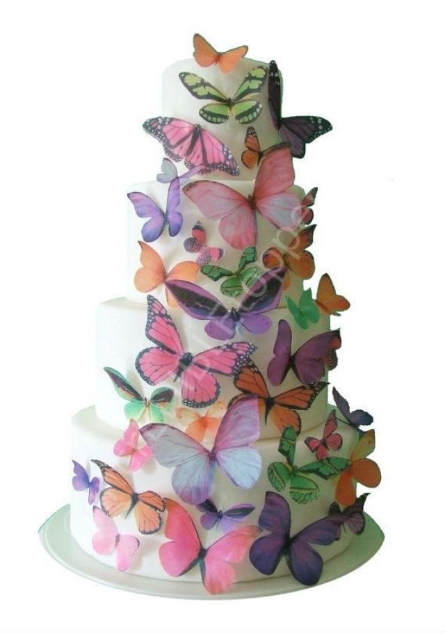 edible cake decorations toppers ombre edible butterflies in pink 3819