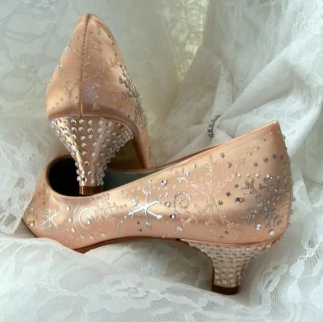 coral wedding shoes coral wedding shoes snowflakes and swirls crystals 3066