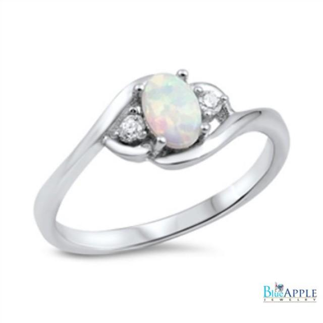 Oval Cut Opal Ring Solid 925 Sterling Silver Lab Created White
