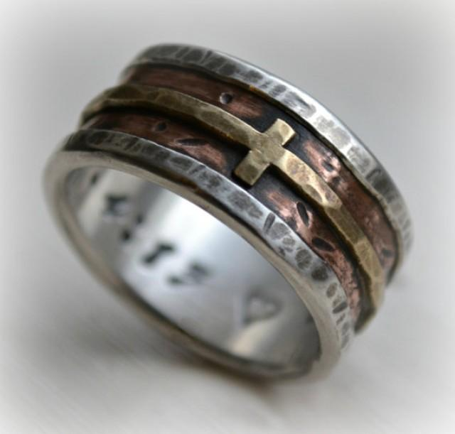 Mens Wedding Band Rustic Fine Silver Copper And Br Cross Handmade Designed Wide Ring Manly Customized 2353101