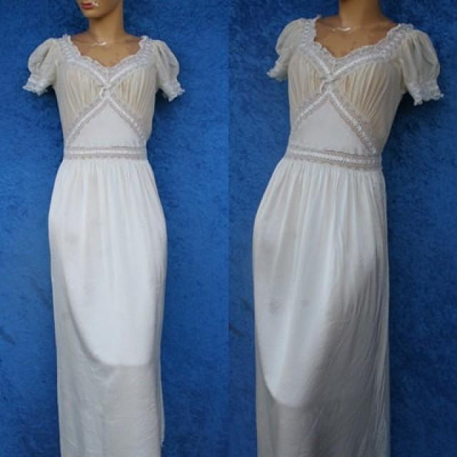 2fb7146b099f6 Vintage Fischer Silk Rayon Lace Chiffon Wedding Bridal Hollywood 40s 1940s  30s Mermaid Lingerie Nightgown