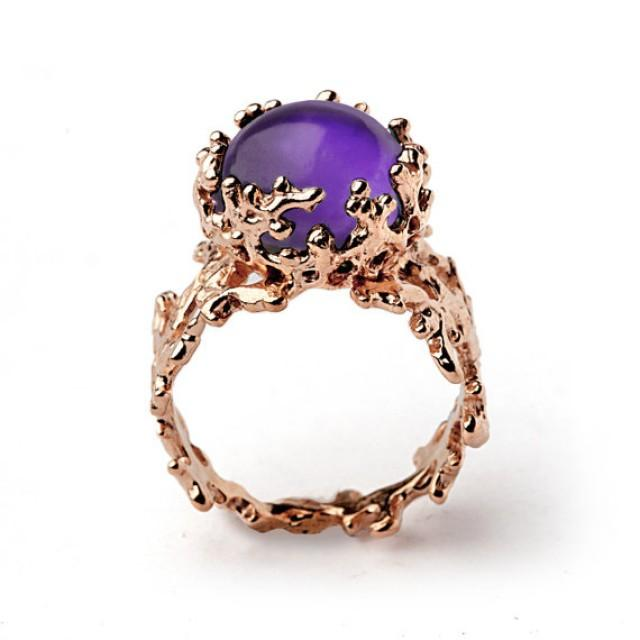 Completely new CORAL 14k Gold Amethyst Ring, Purple Amethyst Engagement Ring  YG81