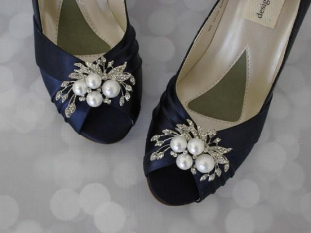 Navy Wedding Shoes Pearl Bridal Bride On Budget Blue Low Heel Satin 2374126 Weddbook