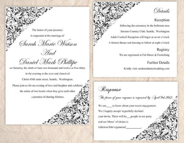 Diy Wedding Invitation Template Set Editable Word File Instant Templates