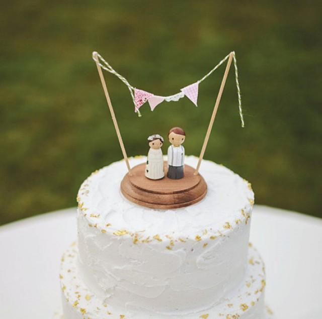 personalised wedding cake topper bunting rustic wedding cake topper custom peg cake topper 18240