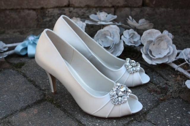 Ivory Wedding Shoes Crystal Toe Embellishment Available In Pastel Colors 3 Inch Heel Pumps Bridal Bling 2389351 Weddbook