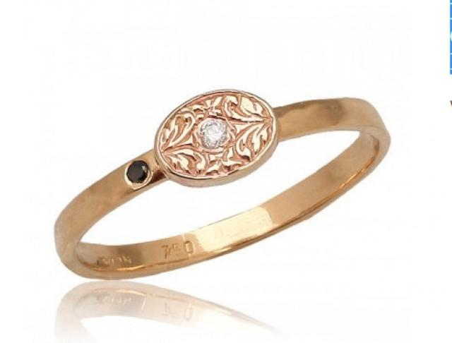 Rose Gold Ring Moroccan Style Engraved Diamond 18k Engagement Black White Fl 2398900 Weddbook