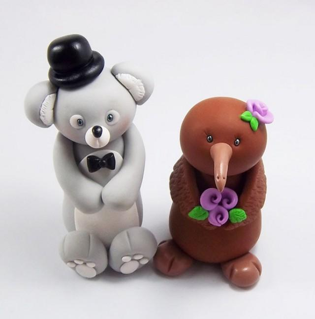 personalized wedding cake toppers figurines koala groom kiwi wedding cake topper wedding 6488