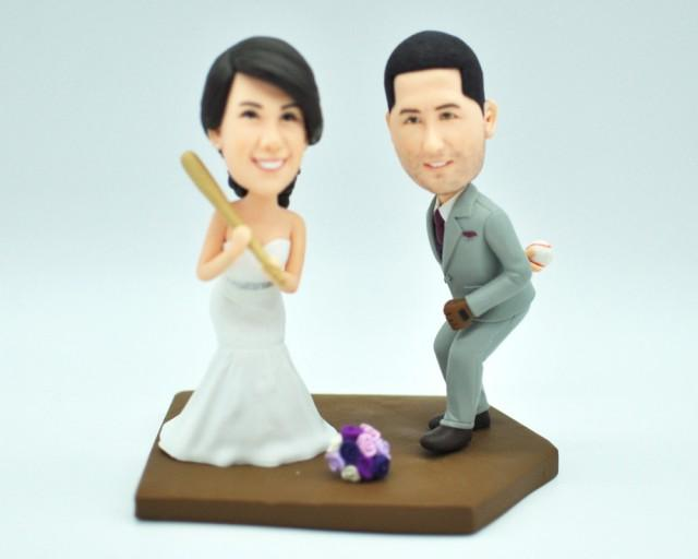 wedding cake toppers that look like bride and groom baseball wedding cake topper custom cake topper custom 26608