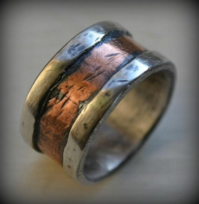 Mens Wedding Band Rustic Fine Silver And Copper Handmade Hammered Designed Wide Ring Manly Customized 2401394 Weddbook