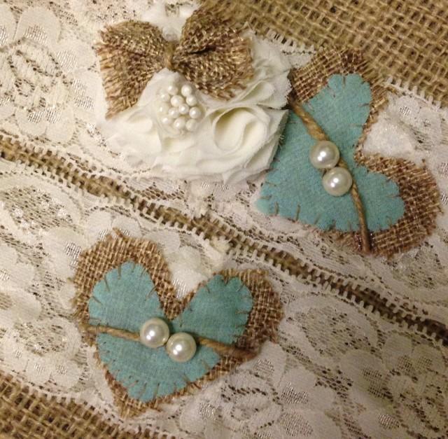 Wedding Garter Rustic Tiffany Blue Fall Ivory Burlap Aqua 2401777