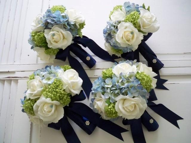 artificial wedding bouquet packages package classic navy and white realtouch and silk 1382