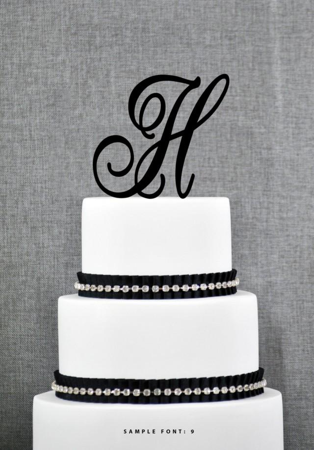 monogram letter cake toppers wedding cakes letter h single monogram cake topper custom wedding cake 17513