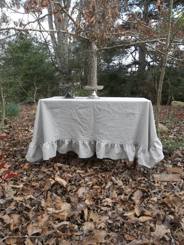 Ready To Ship Ruffled Linen Tablecloth Handmade Gray Wedding Decor Table Settings French Country 66x66 2404119