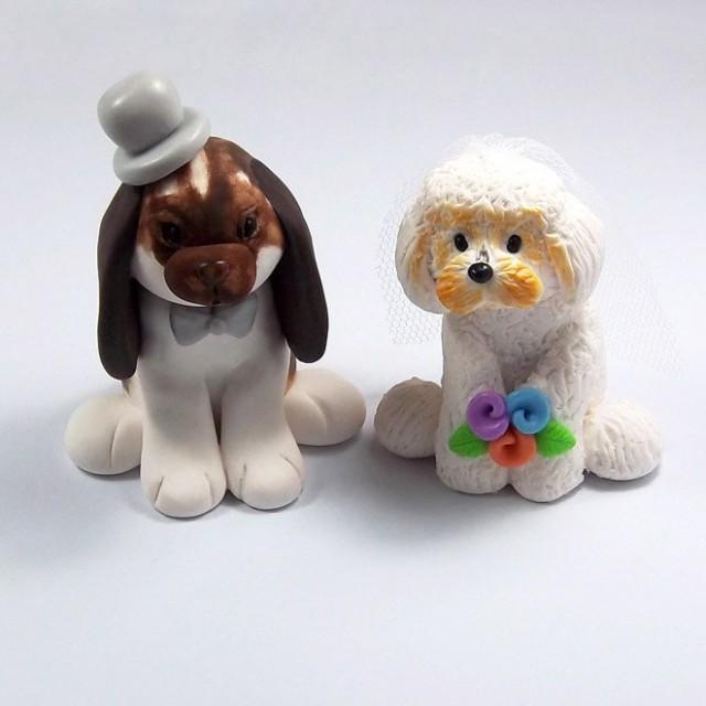 personalized wedding cake topper with dog wedding cake topper bunny figurine bichon frise 18289