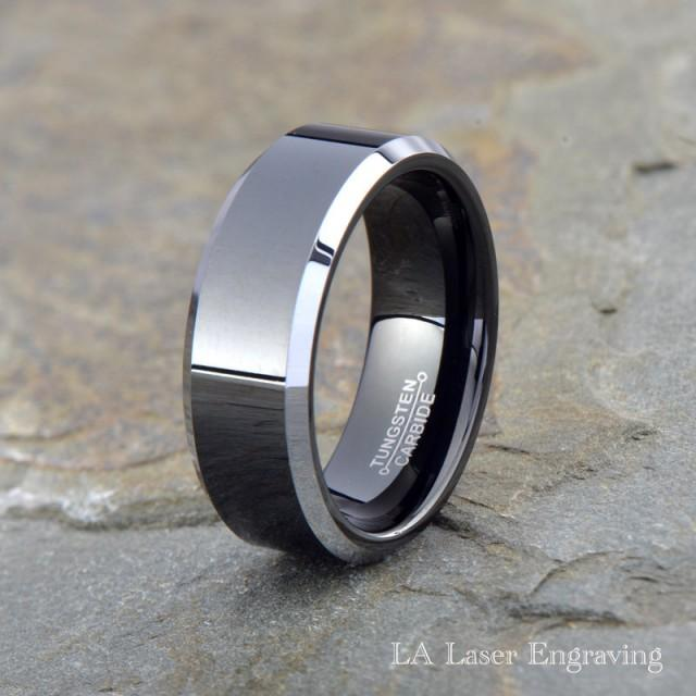 mens tungsten wedding ring tungsten wedding band men tungsten wedding ring black 5804