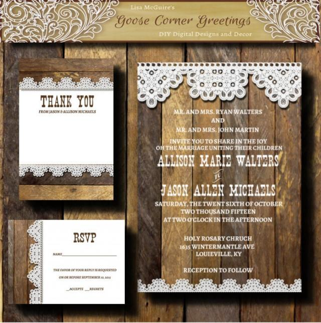 rustic country wedding invitations printable wedding invitation suite barnwood amp lace 7192