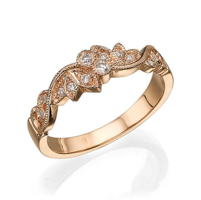 Leaves Wedding Ring Rose Gold With Diamonds Leaf Ring Wedding
