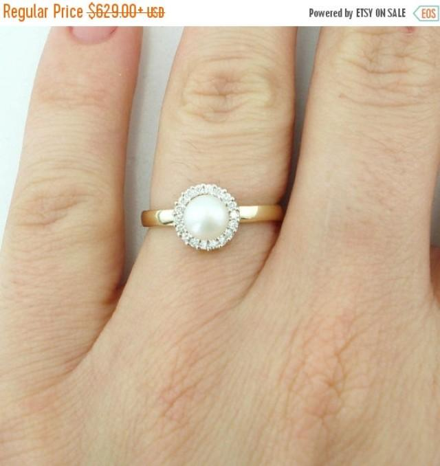 Christmas SALE Pearl Engagement Ring Pearl And Diamond Ring June