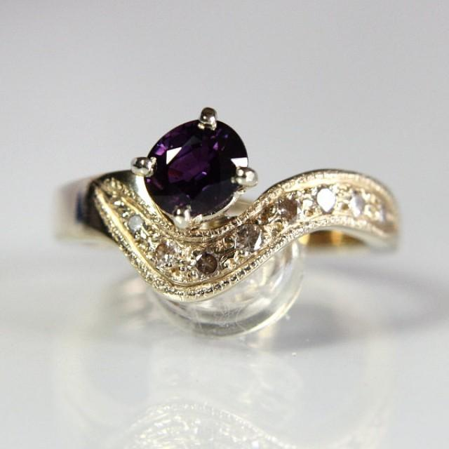 purple diamond wedding ring purple sapphire engagement ring with 14k yellow gold 6887