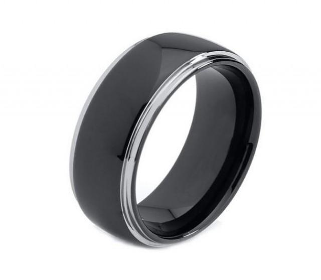 mens black wedding rings 8mm mens engagement rings mens wedding band tungsten 5788