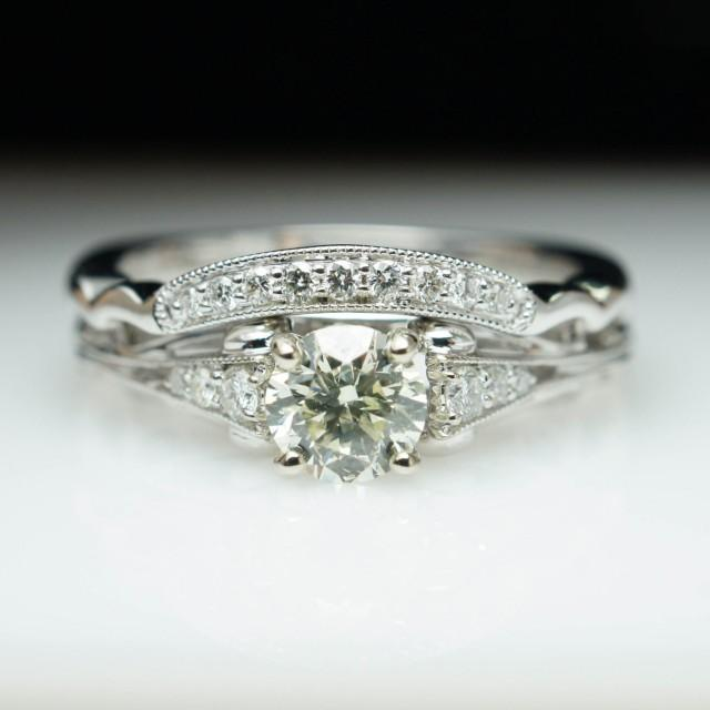 vintage wedding rings sets vintage antique style engagement ring amp wedding 8333