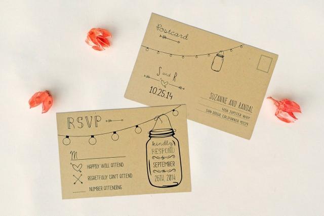 Wedding Invitations With Rsvp Postcard