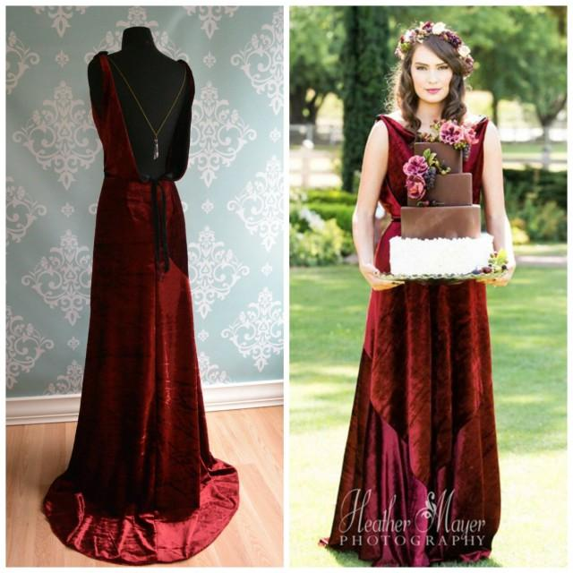 Backless Marsala Velvet Wedding Gown 1930 1920 Art Deco Vintage Inspired Sonata Unique Dress Red Alternative Colors 2439898 Weddbook