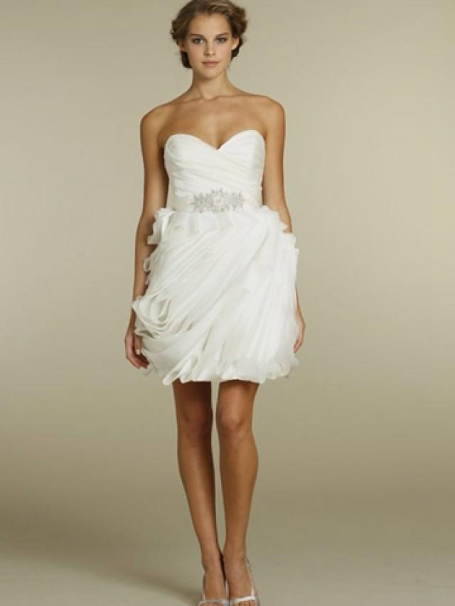 Chic Organza Wave Short Wedding Dress With Pleated Bodice And Strapless Sweetheart Neckline 2443665 Weddbook
