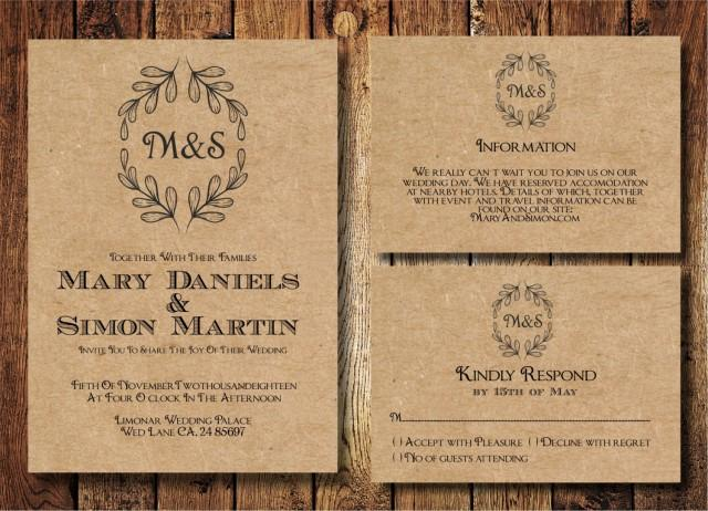 rustic country wedding invitations rustic wedding invitation template set kraft paper wreath 7192